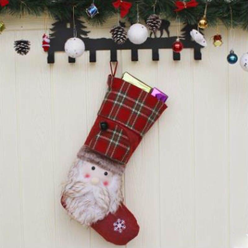 Новый Рождественский носок Подарочная сумка Рождественская елка кулон старый человек снеговик лося подарок отель ветрина магазина украше... - 4