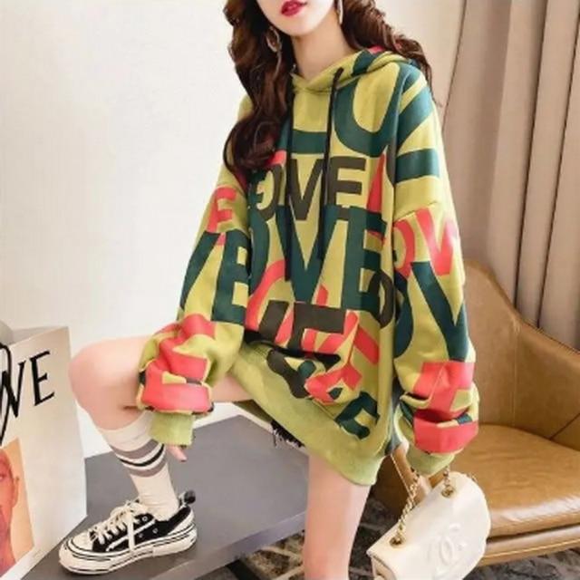 QRWR Korean Women Hoodie Sweatshirts 2020 Winter Casual Fleece Oversized Hoodies Loose Letter Printing Thicken Hoodies for Girls 4