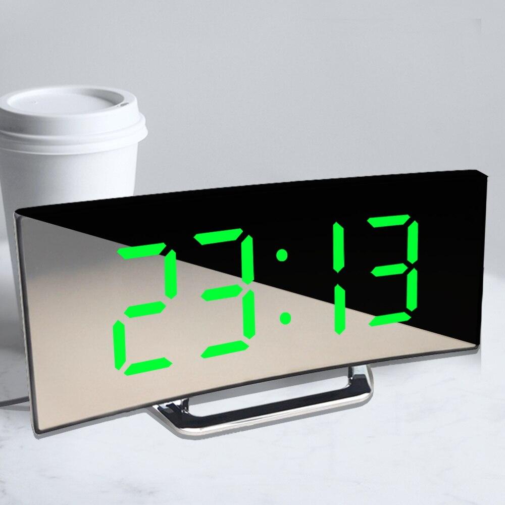 Digital despertador curvo tela plana led relógios de alarme para crianças quarto temperatura função snooze mesa relógio decoração da sua casa