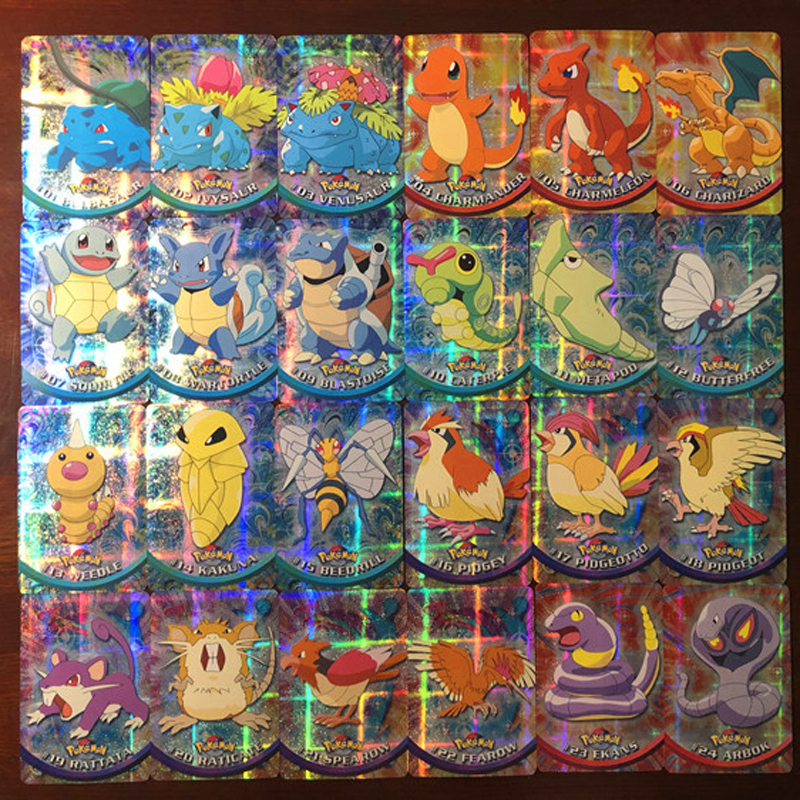 46PCS Pokemon Cards Rainbow Foil Sets Of Pokemon Topps Series Flash Card Game Collection Cards Christmas Gift