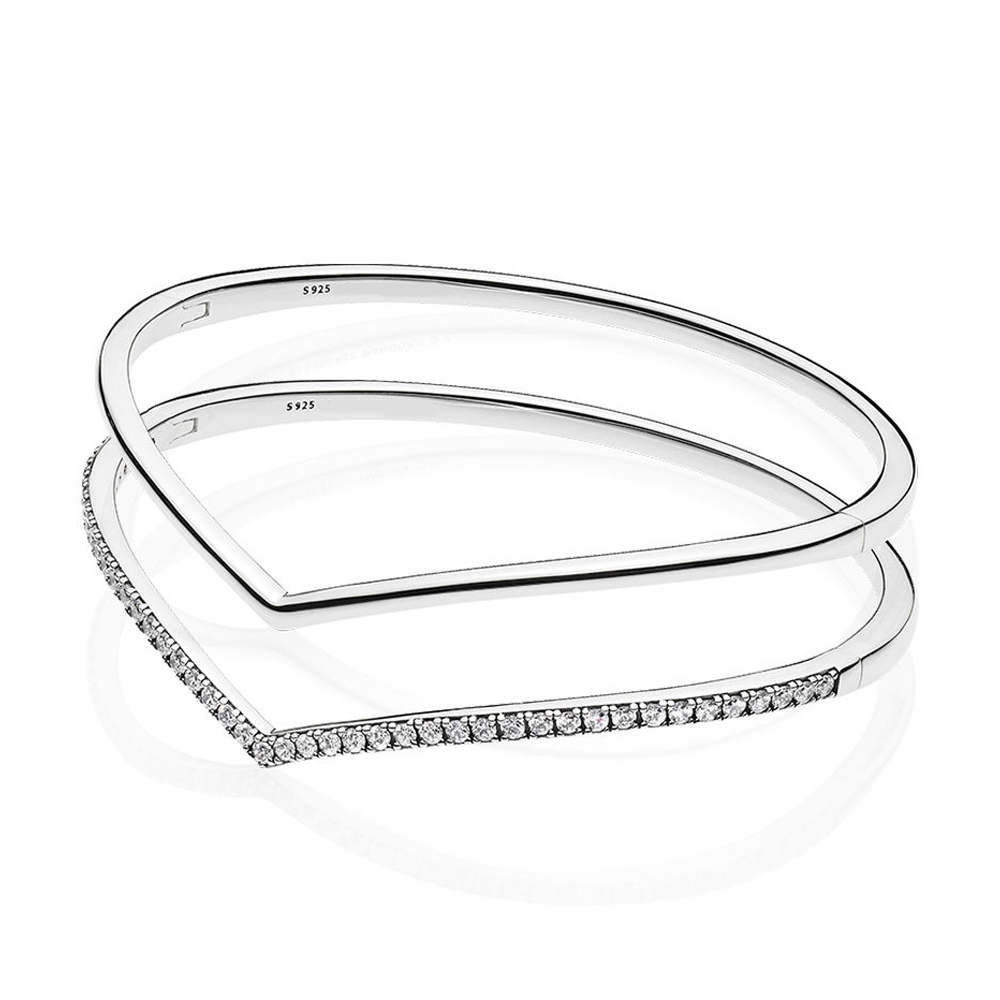 2019 NEW 100% 925 Sterling Silver Early Spring Shining Shimmering Wish Bangle Bracelet Stack Original Fashion Women's Jewelry