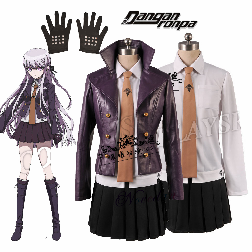 Danganronpa Kyoko Kirigiri Cosplay Costume Dress Set With Gloves Women Halloween Cosplay Costume And Ri Wig Jacket Shirt Tie