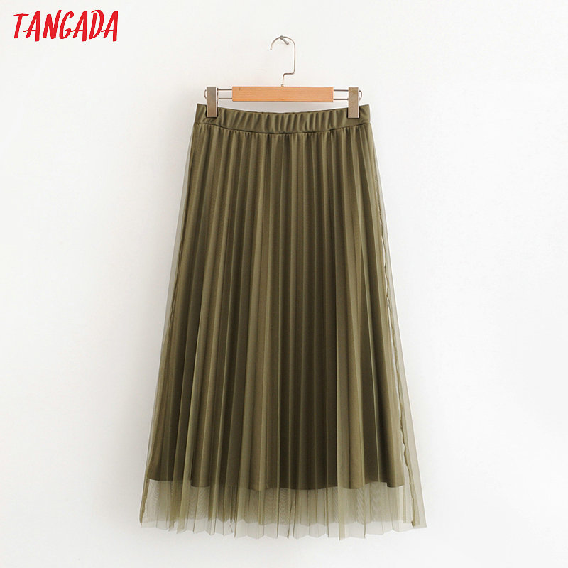 Tangada Women Solid Mesh  Pleated Midi Skirt Vintage Strethy Waist Office Ladies Elegant Chic Skirts HY43