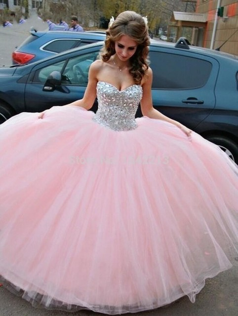 Angelsbridep Sweetheart Ball Gown Vestidos De 15 Quinceanera Dresses Sparkly Crystal Bodice Sweet 16 Dress Vestidos De Debutante 1