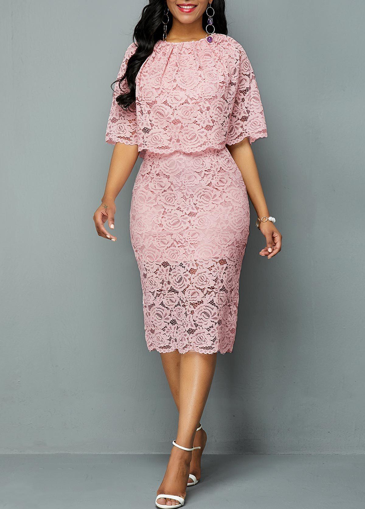 BacklakeGirls Pink Lace Round Neck Hollow Out Cocktail Dress With Cape Elegant Women Dress Plus Size Robe Mere De La Mariee 2019