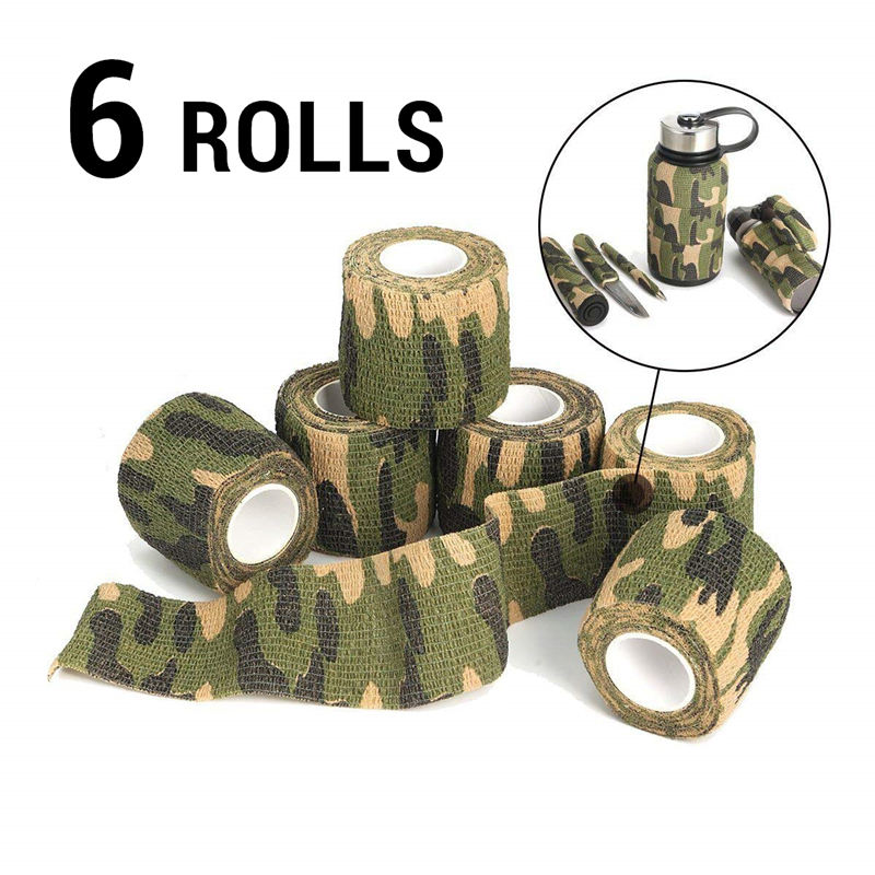 6 Rolls Outdoor Camouflage Tape Camo Wrap Self-Adhesive Tapes Protective Non-Woven Fabric Stretch Bandage