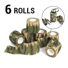 6 Rolls Outdoor Camouflage Tape Camo Wrap Zelfklevende Tapes Beschermende Niet geweven Stof Stretch Bandage