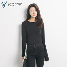 купить 2019 Autumn O-neck Slimming Long Sleeve Solid Color T-shirt Women Korean Leisure Pullover Tops по цене 1734.44 рублей