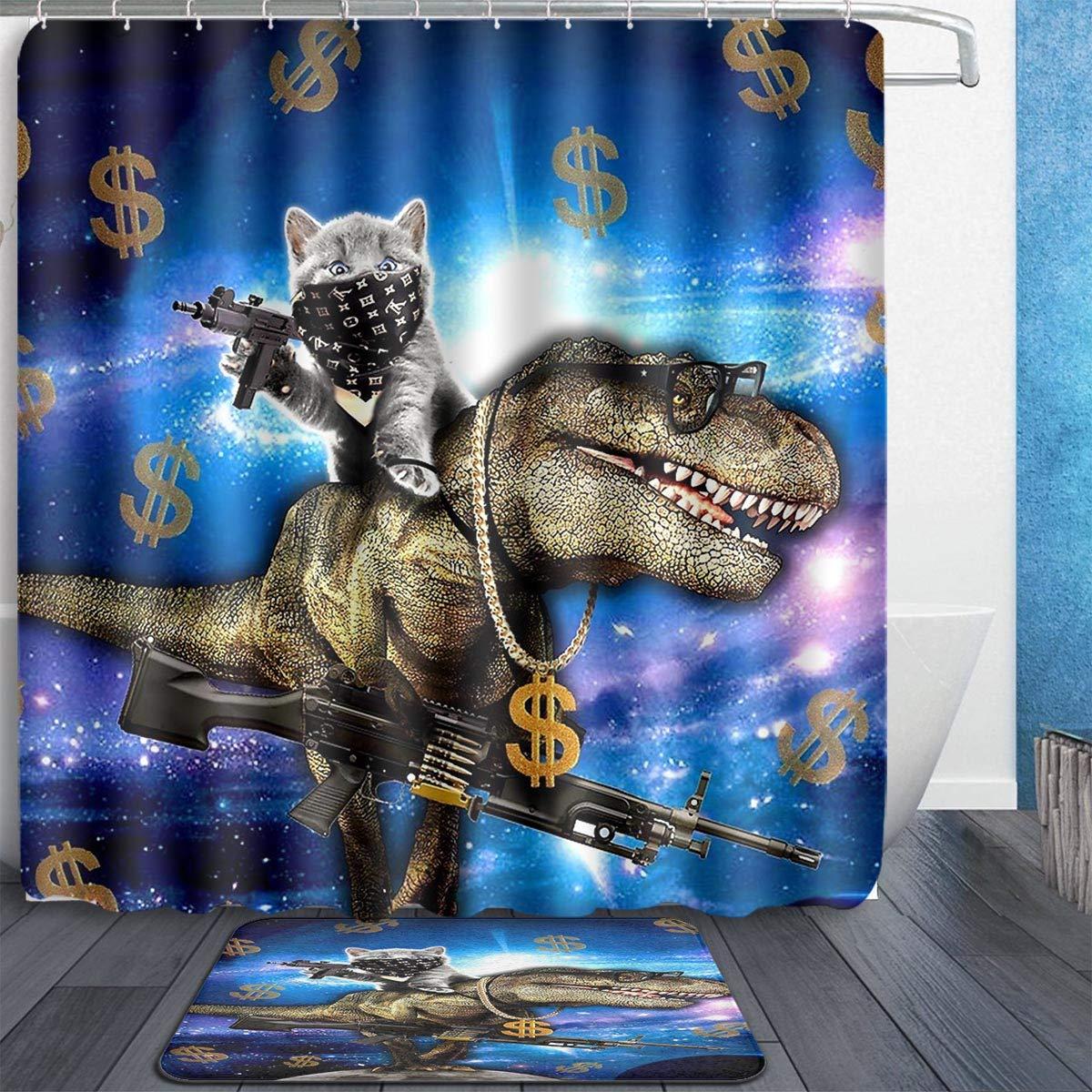 Space Cat Riding Dinosaur T Rex With Guns Dollars Shower Curtain Shower Curtains Aliexpress