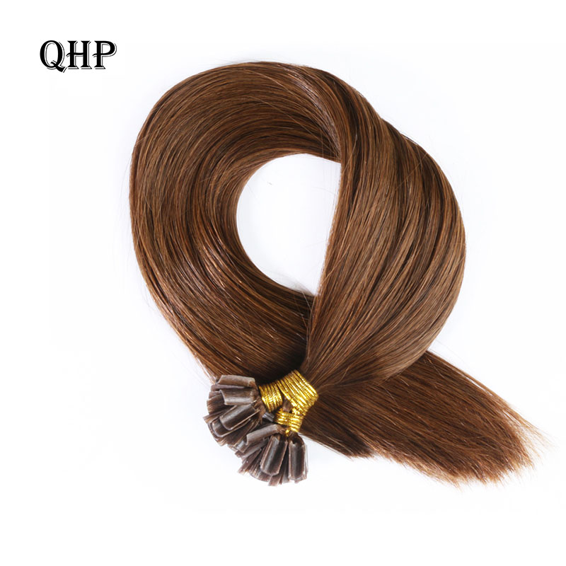 QHP Hair Straight Keratin Human Fusion Hair Nail U Tip Machine Made Remy Human Hair Extensions 1g/ps 50g Muti-Color