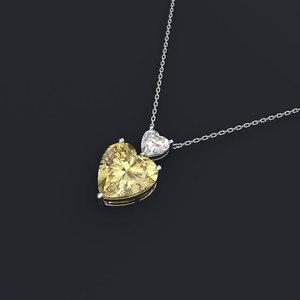 Image 2 - Wong Regen Romantische 100% 925 Sterling Zilver Liefde Hart Moissanite Citrien Sapphire Edelsteen Hanger Ketting Sieraden Groothandel