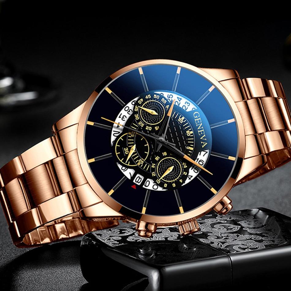 Geneva Watches Men 2020 Quartz Classic Wristwatch Steel Belt Luxury Calendar Business Casual Watch Herren Uhren Gifts for Men