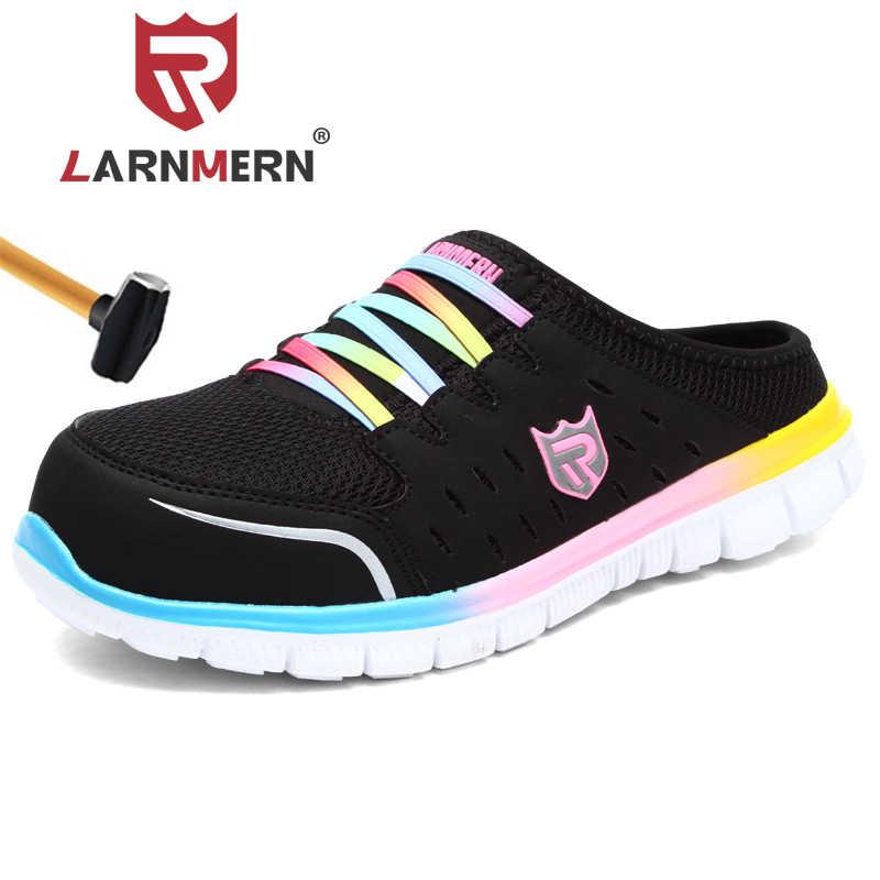LARNMERN bayan güvenlik ayakkabıları çelik burunlu iş ayakkabısı rahat hafif Anti-smashing kaymaz koruyucu terlik