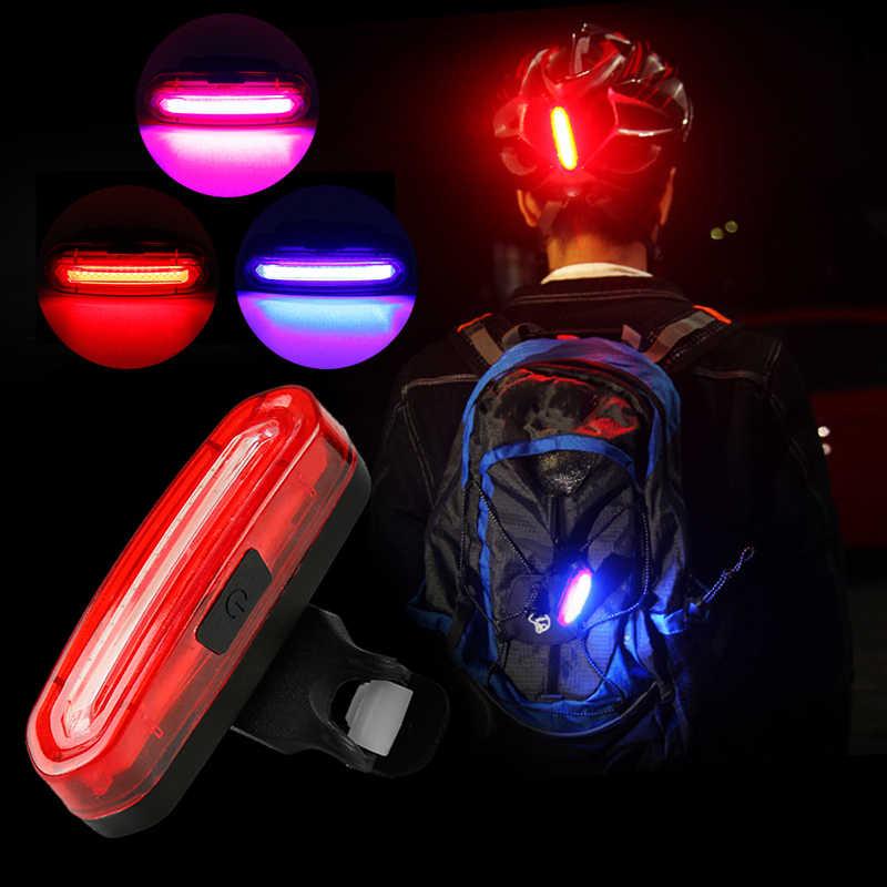 Sepeda Lampu Tri-Warna Sepeda Lampu Sepeda Belakang Naik Belakang Usb Isi Ulang Lampu Sepeda 120 Lumen Lampu LED peringatan