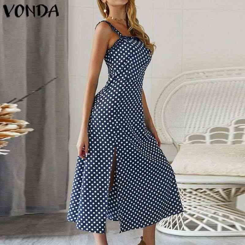 VONDA 夏ドレス 2020 女性のセクシーなノースリーブロングマキシドレスプラスサイズボヘミアンパーティー Vestidos ファムビーチサンドレス 5XL