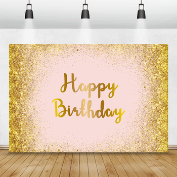 Laeacco Gold Glitter Pink Happy Birthday Photography Backdrop Baby Party Customized Background Photo Studio Photocall