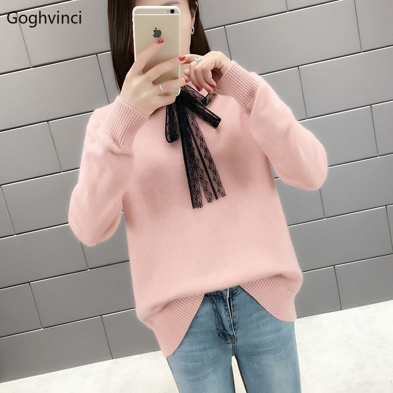 Pullovers Women Solid Simple All Match Winter Clothes Womens Sweater Korean Style Pullover Females Kawaii Long Sleeve Casual