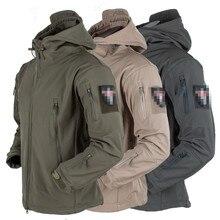 Открытый мягкая оболочка тактическая куртка Военная с капюшоном флисовая водонепроницаемая охотничья куртка-черный/зеленый/песочный