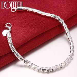 DOTEFFIL 925 Sterling Silver 8 inches 4mm Solid Snake Chain Bracelet For Woman Men Charm Wedding Engagement Fashion Jewelry