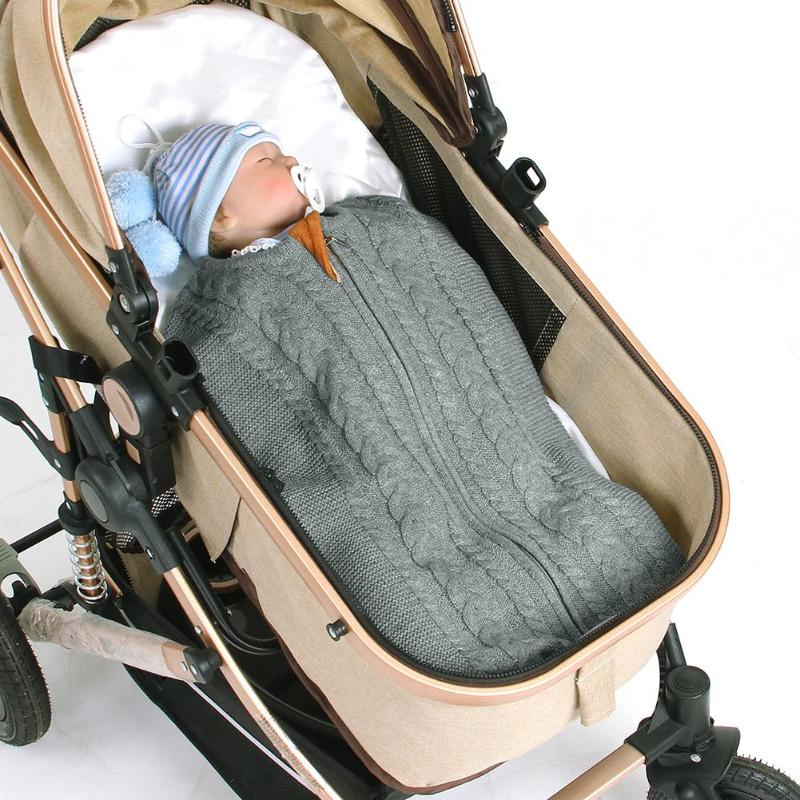 1pcsNewborn Baby Winter Warm Sleeping Bags Infant Zipper Knit Swaddle Wrap Swaddling Stroller Wrap Toddler Blanket Sleeping Bags
