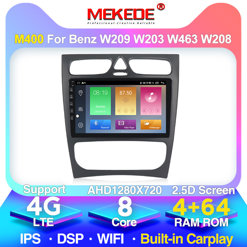 2DIN <font><b>Android</b></font> 10.0 Car radio stereo DVD Player for Benz <font><b>W203</b></font> W208 W209 W210 W463 Vito Viano with <font><b>GPS</b></font> BT USB 4+64G 2.5D IPS DSP image