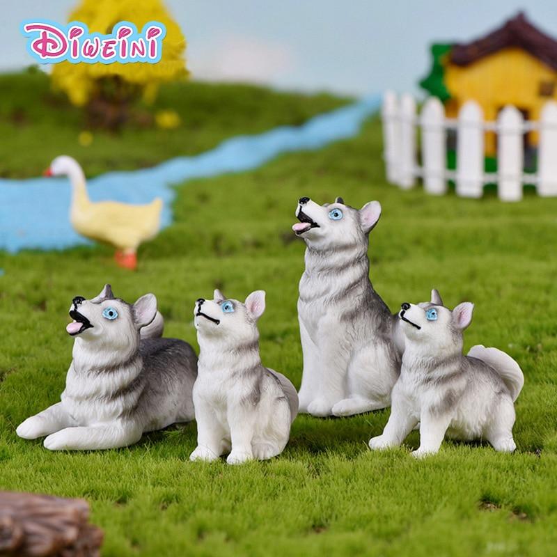 Grey Husky Little Fox Dog action Figures Dollhouse Miniature Figurine home Garden Dollhouse Decoration DIY Accessory toy gift