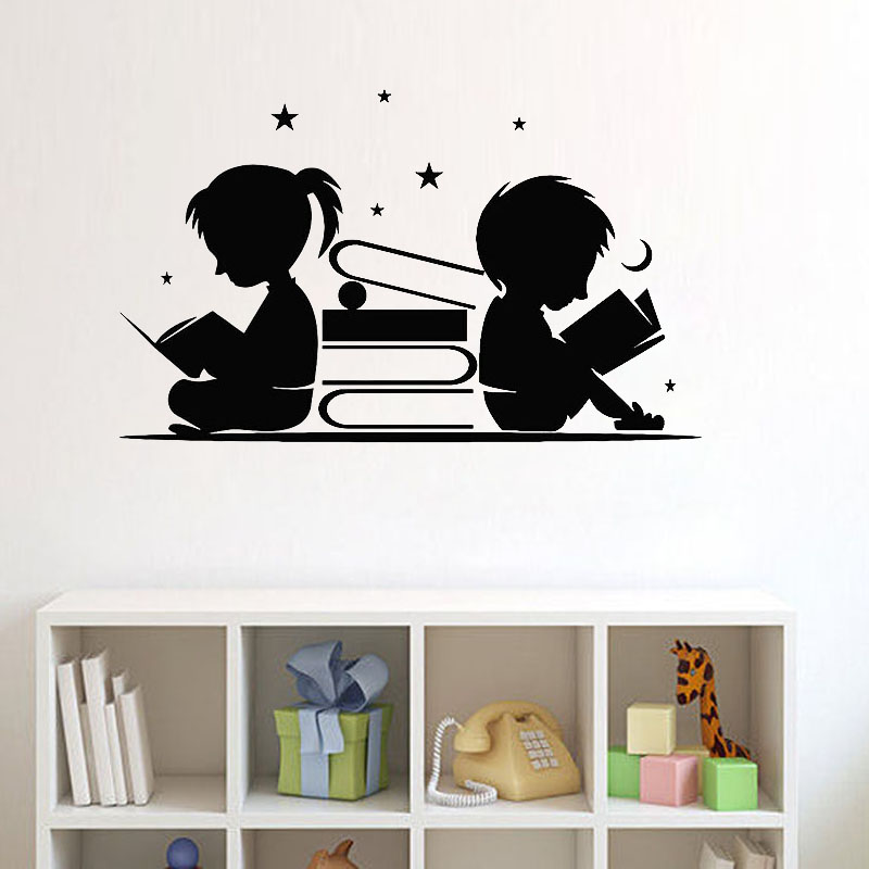 Boy Girl Read Books Wall Sticker Stars Moon Wall Art Murals Library Reading Corner Wall Decor Children Room Nursery Decoration