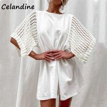 Celandine 2021 verão casual malha retalhos suor crochê mini solto vestido feminino festa clube branco vestido de manga curta moda
