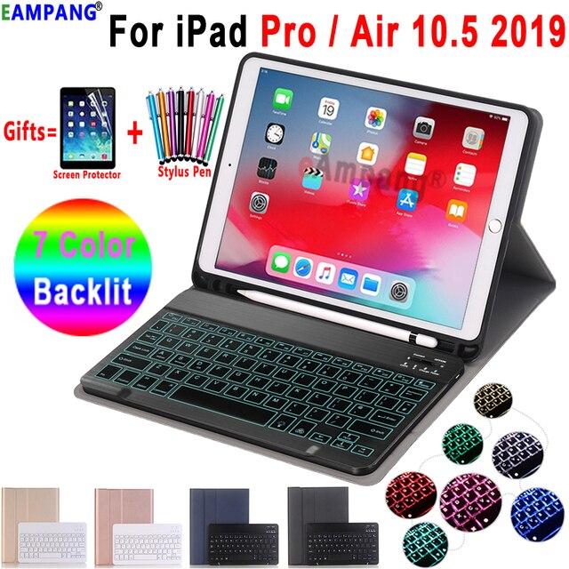 حافظة لوحة مفاتيح بإضاءة خلفية لهاتف Apple iPad Air 10.5 2019 Air 3 حافظة لجهاز iPad Pro 10.5 2017 غطاء لوحة مفاتيح بلوتوث فتحة قلم رصاص Funda