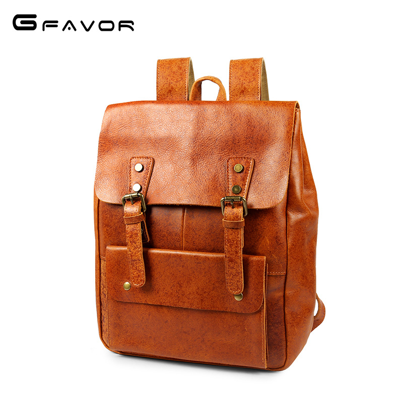 Backpack men's Leather Men's bag college style student's backpack top layer leather men's backpack
