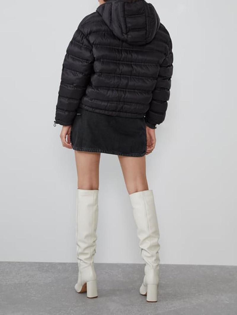 Осень зима 2019, новый стиль, Y, черно белая одежда с рисунком, с хлопковой подкладкой, с капюшоном, теплая, короткая, закрывающая края, теплая, комфортная - 3