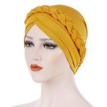 Foulard turban musulman imprimé coton à la mode pour les femmes islamique intérieur hijab casquettes arabe enveloppement tête foulards couleur unie turban Baotou chapeau