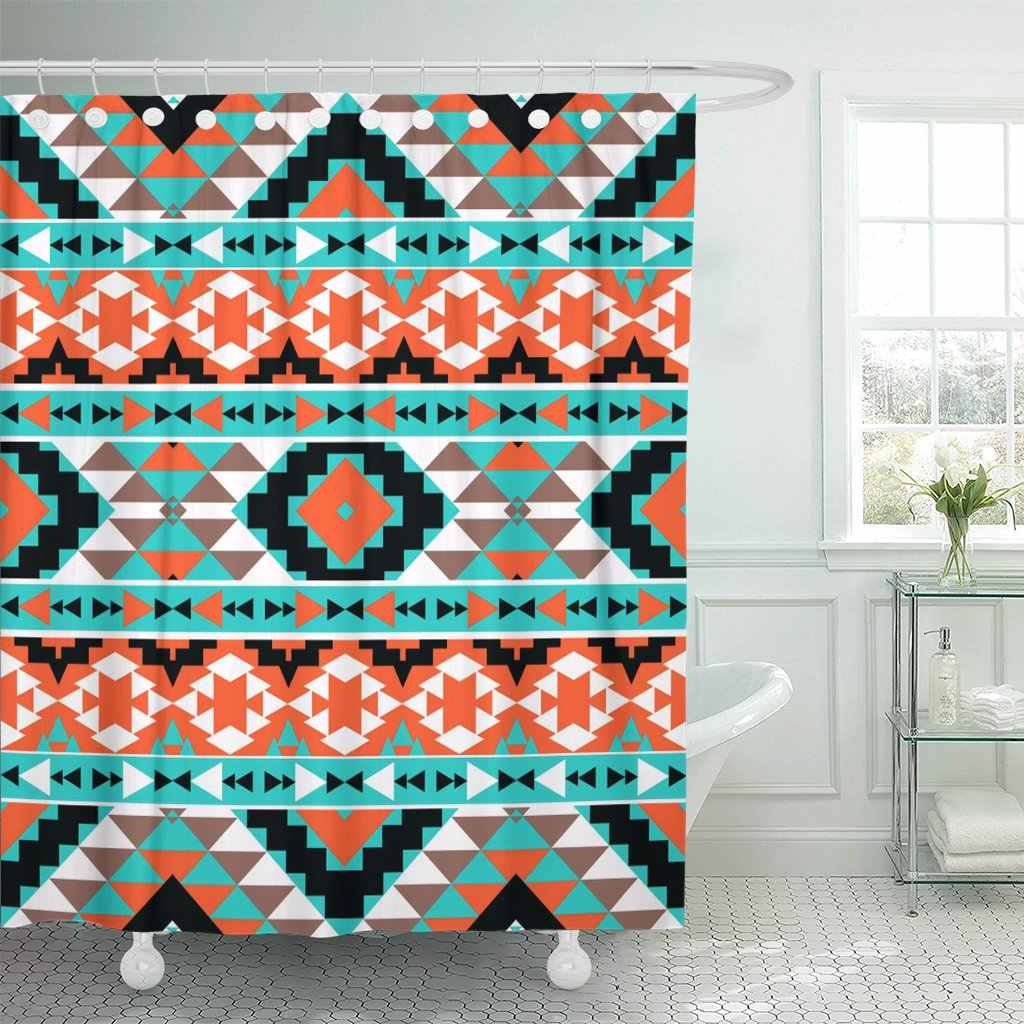 orange american colorful navajo pattern mexican native aztec indian shower curtain waterproof 60 x 72 inches set with hooks