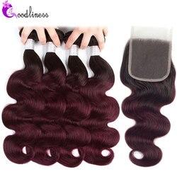Ombre 4 paquets avec fermeture pré-colorée péruvienne corps vague cheveux paquets 1b 99j deux tons couleur 100% cheveux humains avec fermeture à lacets