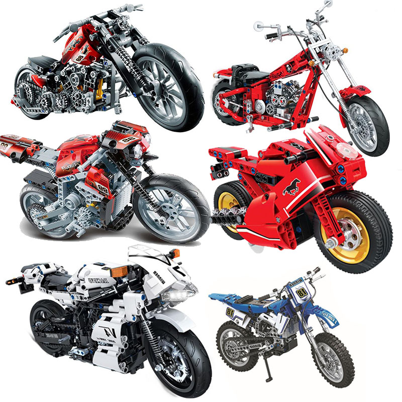 Motorcycle Technic Compatible Moto Racing Motorbike City Vehicle Sets Off Road Model Building Blocks Moc Kits Kids Toys