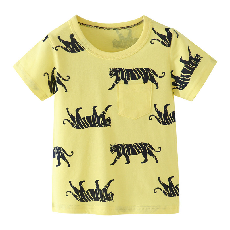 H33984478b5014cc5a6c9bf08c6c64a34W Jumping meters Summer 100% Cotton Boys Girls T shirts Tigers Print New Baby Clothes Hot Selling Boys Tees Animals Kids s