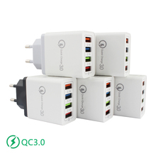 Quick Charge 3.0 Mobile Phone charger 15w 5V/3A EU plug 4 ports USB Wall Charger 5 colors Fast charging Universal Charger Travel quick charge 3 0 usb charger travel for iphone samsung micro usb type c fast charging 3 ports eu us plug mobile phone charge