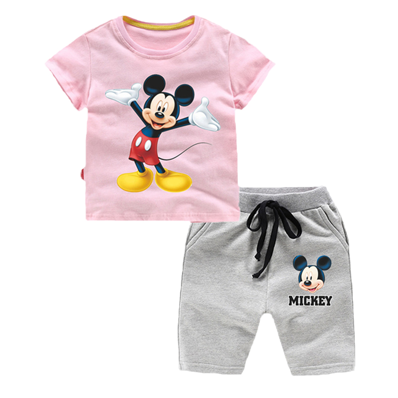 Summer Children Clothing Sets Cartoon Toddler Girls Clothing Cotton Mickey Top+Shorts 2pcs Kids Casual Boys Clothes Sport Suits