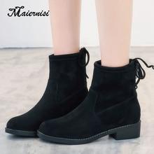 New winter plus velvet women boots thin skinny female flat Martin large size 34-42