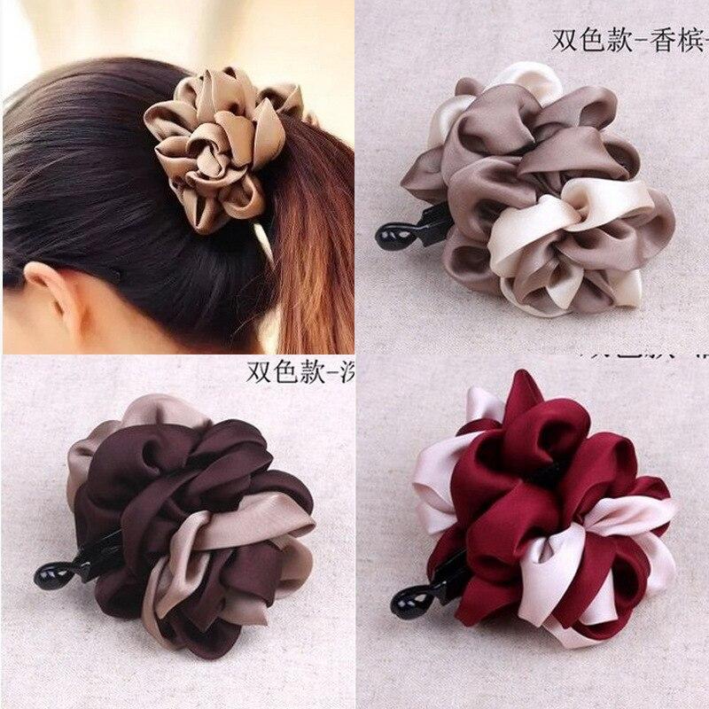 Hair Accessories Headdress Ribbon Vertical Clip Fabric Three-dimensional Flowers Tie Hair Clip Banana Clip Ponytail Clip G0110