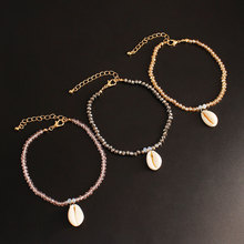 3 Pcs/ Set Natural Shell Beach Anklets for Women Fashion Handmade Crystal Beads Ankle Braclelets Jewelry