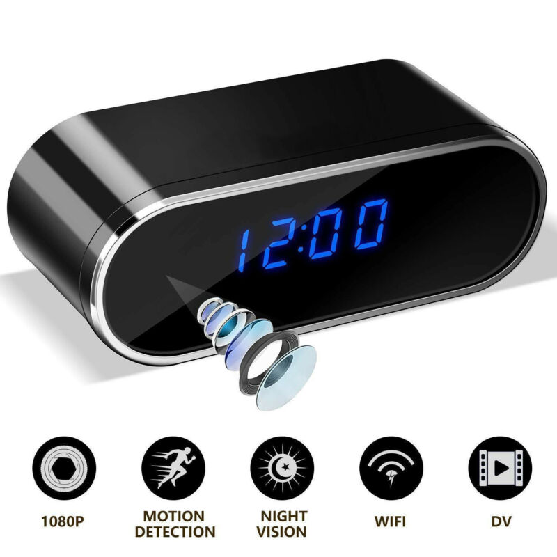 HD 1080P Wireless Wifi Alarm Clock Camera Motion Home Security Protection  IR Cam Nanny Night Vision IP Camera