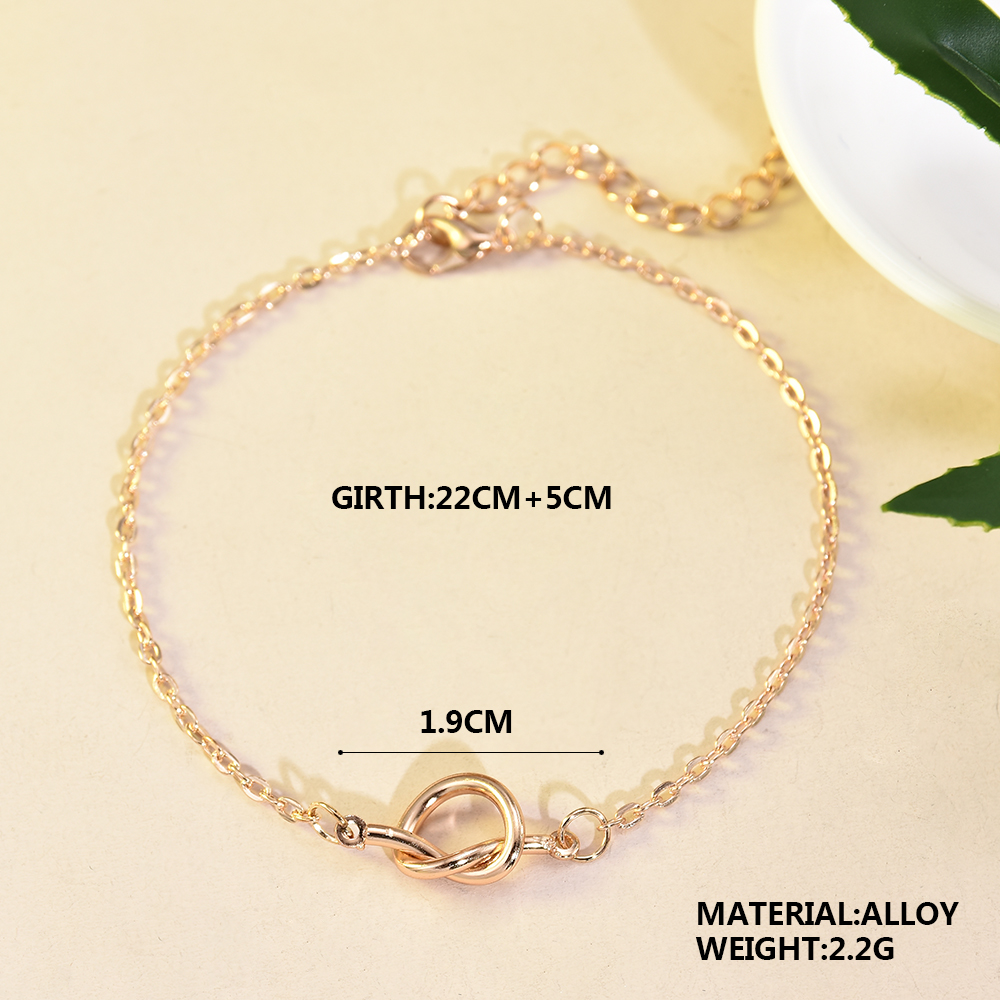 Metal Tie Knot Anklets Female Barefoot Crochet Sandals Foot Jewelry Bead Ankle Bracelets For Women Leg Chain gold anklet 4
