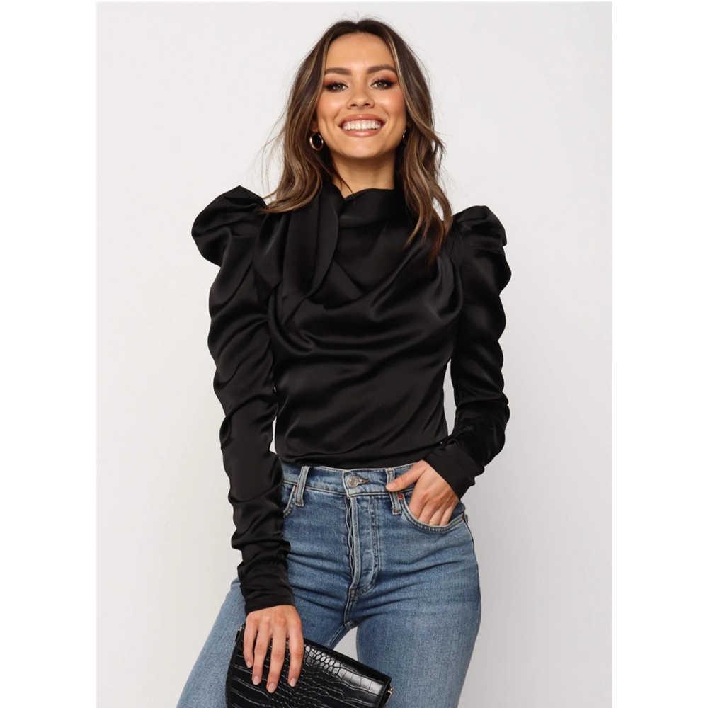 Meihuida נשים קשת צוואר ארוך פאף שרוול אלגנטי Casaul סאטן חולצות חולצה גברת קלאסי Blusas תחתונית משרד ליידי אלגנטי ללבוש