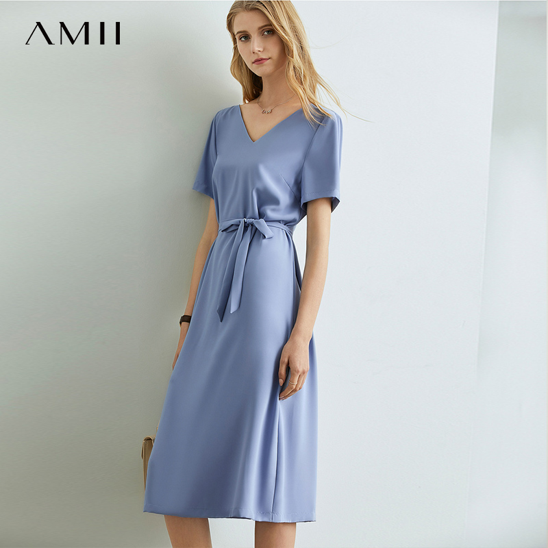 Amii  French Temperament Solid Dress Spring Summer New Backless V Collar With Belt High Waist Chiffon Dress 11920223