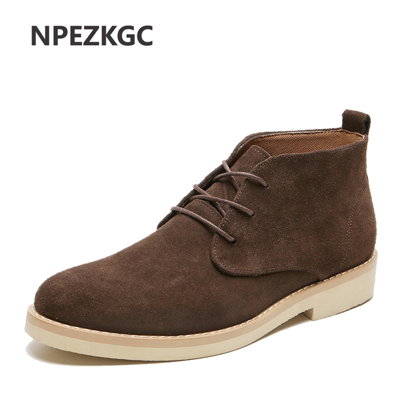 Men Chelsea Boots Ankle Cow Suede Genuine Leather Shoes Men Boots Autumn Winter Boots Plus Size 38-48