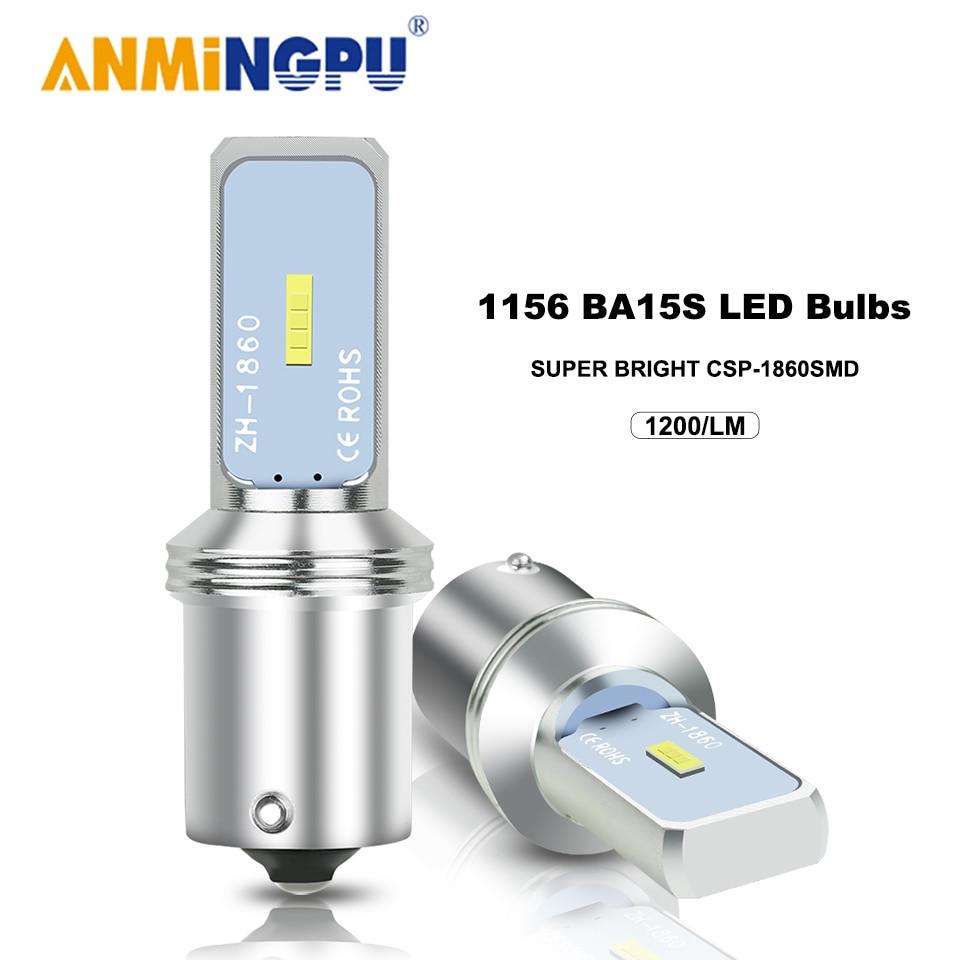 ANMINGPU 1x сигнальная лампа PY21W BAU15S светодиодный BA15S P21W 1156 R5W сигнала поворота светильник с кристаллами CSP 1860SMD 1157 BAY15D светодиодный P21/5 Вт тормозно...