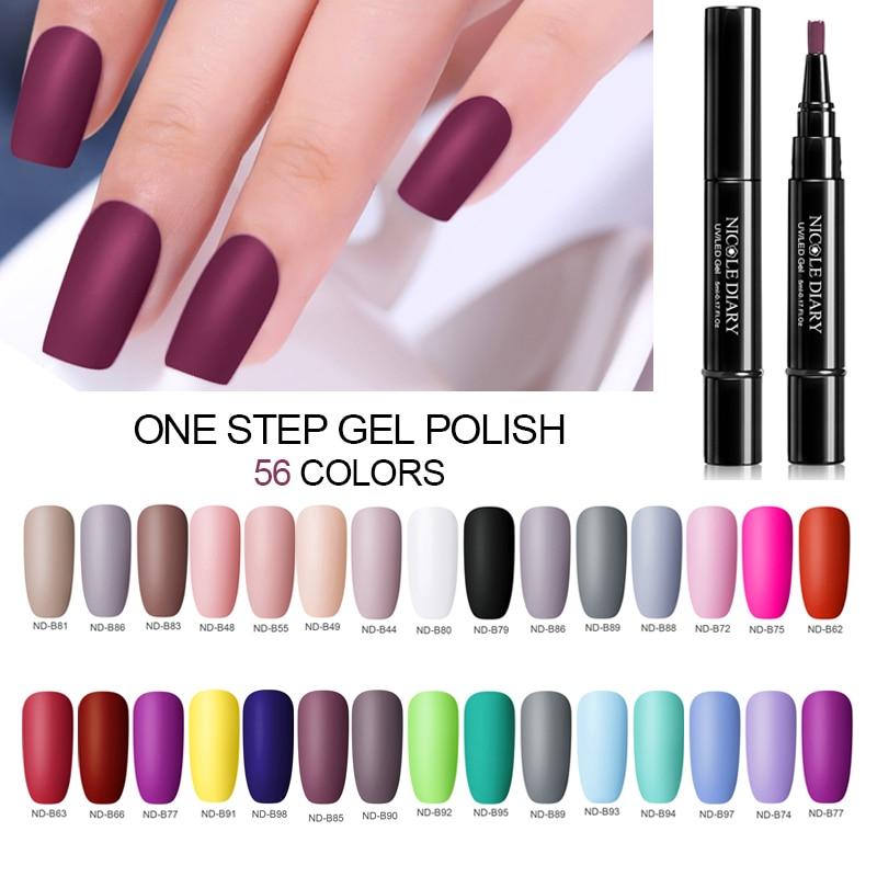 NICOLE DIARY Гель-лак для ногтей 56 цветов УФ-гель на один шаг лак для ногтей ручка 3 в 1 цветной гель для дизайна ногтей отмачиваемый