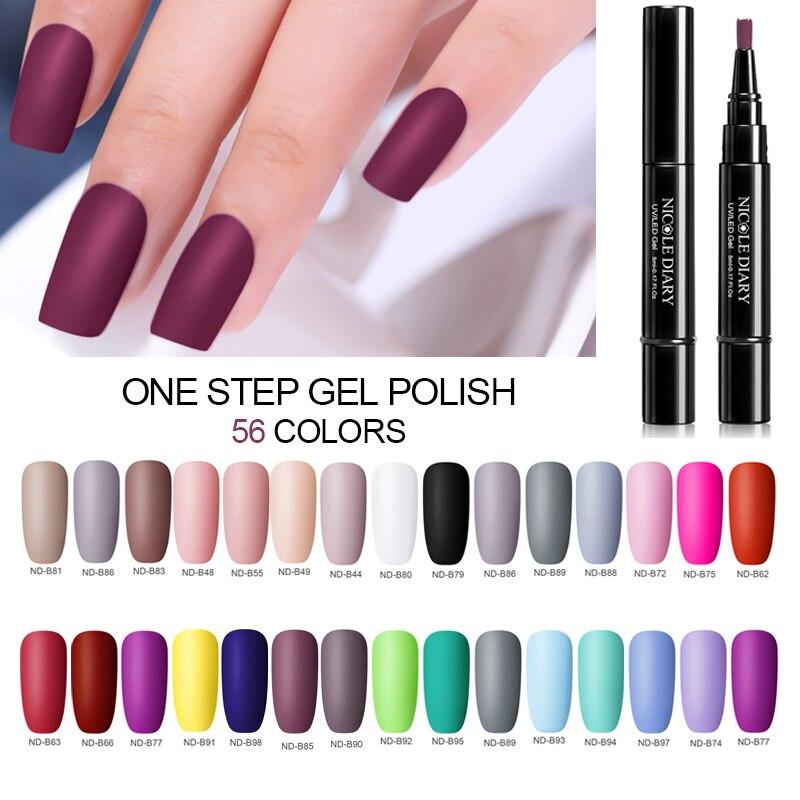 NICOLE DIARY Gel Nail Polish  56 Colors UV Gel One Step Nail Varnish Laccqer Pen 3 In 1 Nail Art Color Gel Soak Off