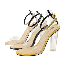 Women Sandals Shoes PU Leather Transparent Round Heel Buckle Strap Shallow Thick High Heel Solid Lady Party Female Pumps Shoes new genuine leather buckle strap women sandals high heel thick heel metal studded shoes women party